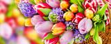 Fototapeta Tulipany - Springtime flowers and decorations