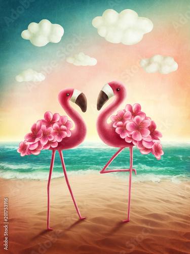 Fototapeta premium Dwa flamingi
