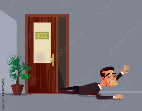 Photo  Bad angry boss beat employee office worker man character