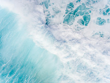 High Angle View Of The Surf In Hawaii