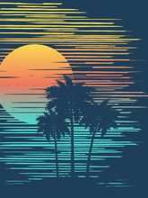 Sunset On Tropical Beach With ...