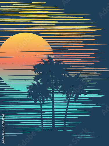 Foto  Sunset on tropical beach with palm tree. Sun over evening sea.