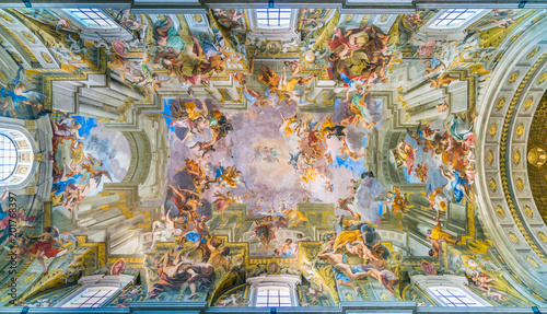 The painted vault with the Apotheosis of Saint Ignatius by Andrea Pozzo, in the Church of Saint Ignatius of Loyola in Rome, Italy Wallpaper Mural