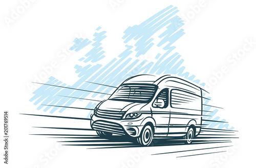 Sketch of van in front of european map sketch. Vector. Canvas-taulu
