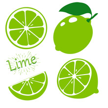 Set Slices Of Lime Isolated On...