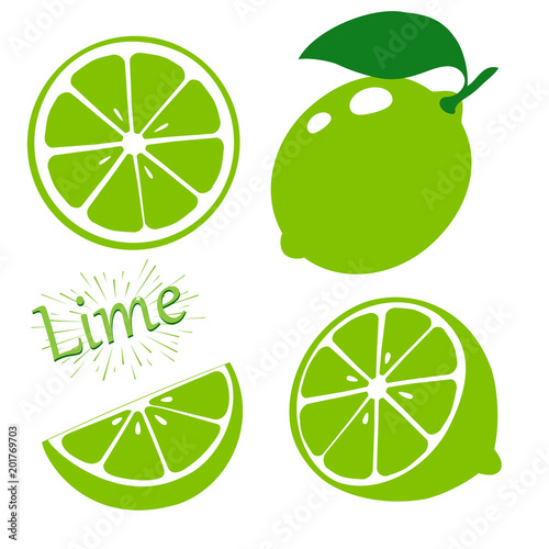Set slices of lime isolated on white background Fototapet