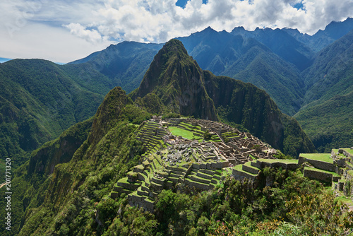 Poster Zuid-Amerika land Drone view on Machu Picchu