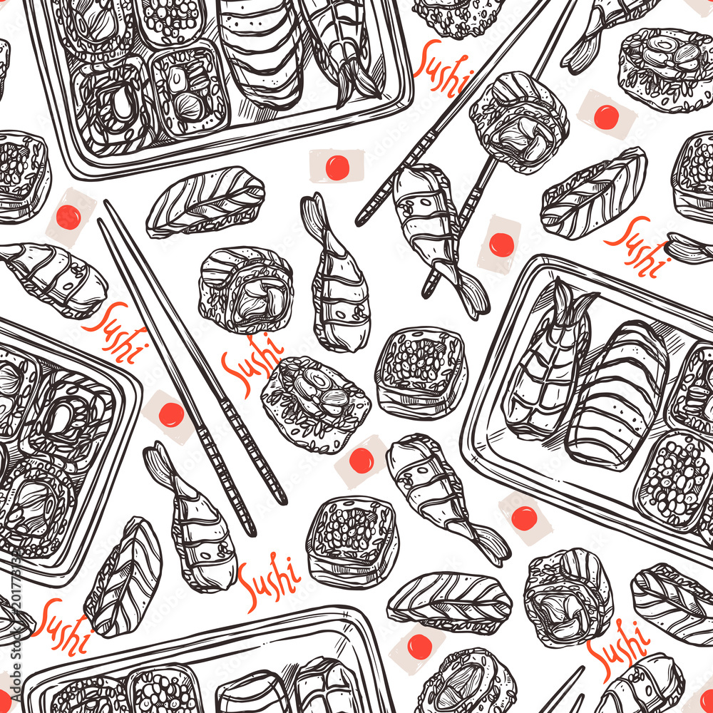 Sushi Doodle Seamless Pattern