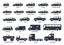 Car Type Icons Set. Model Automobile. Vector Black Illustration