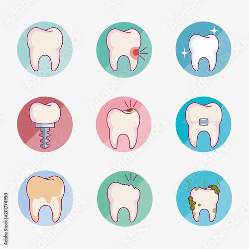 Carta da parati dental care set icons vector illustration design