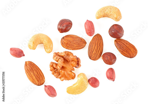 Mix of different nuts isolated on a white background