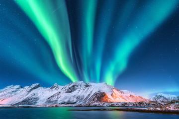 Aurora borealis. Lofoten is...