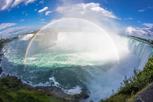 Panoramic View Of Niagara Falls With Rainbow. Fisheye Lens Effect.