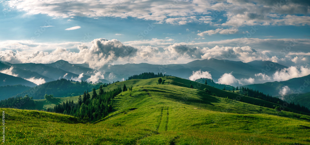 Fototapety, obrazy: Breathtaking panorama of morning wild nature high in mountains