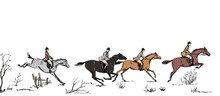 Equestrian Sport Fox Hunting With Horse Riders English Style On Landscape. England Steeplechase Tradition Frame Or Border. Hand Drawing Vector Vintage Art Pattern On White.