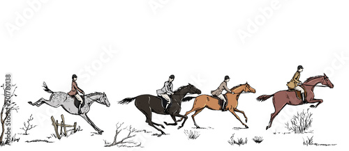 Fotografie, Obraz  Equestrian sport fox hunting with horse riders english style on landscape