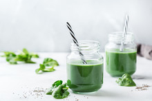 Healthy Green Vegan Smoothie With Spinach, Spirulina And Chia Seeds