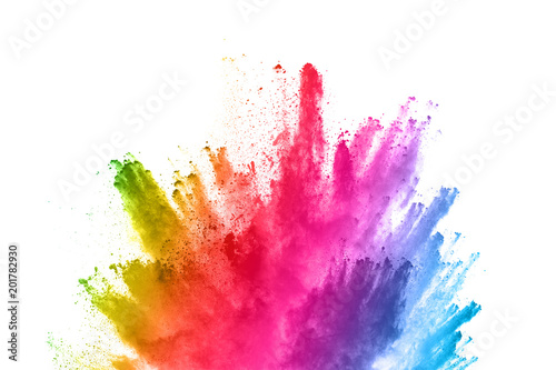 La pose en embrasure Forme abstract powder splatted background. Colorful powder explosion on white background. Colored cloud. Colorful dust explode. Paint Holi.