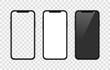 Realistic smartphone. Set realistic smartphone. Phone black. Flat cartoon design, vector illustration on background.