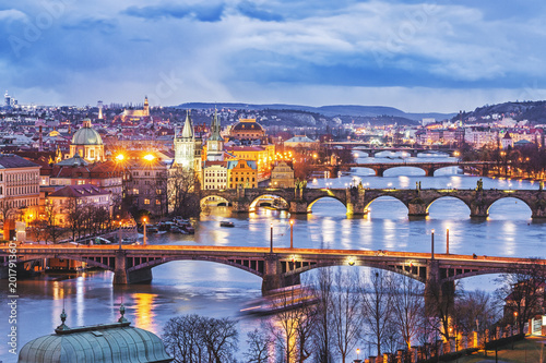 Poster Prague Prague, Europe. Night scene of bridges.