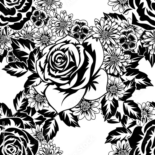 seamless monochrome pattern of flowers for greeting cards, background, price tags #201791521