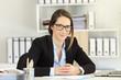 Leinwandbild Motiv Proud office worker wearing eyeglasses looking at camera