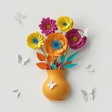 3d Render, Cute Paper Flowers,...
