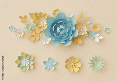 3d Render Pastel Paper Craft Flowers Botanical Design Elements
