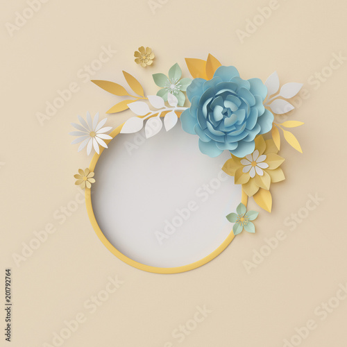 3d Render Botanical Background Pastel Paper Craft Flowers Floral