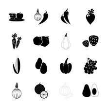 Icon Fruits And Vegetables Wit...