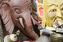 Crafted Wooden Decorations In Shape Of Gods And Entities At The Market