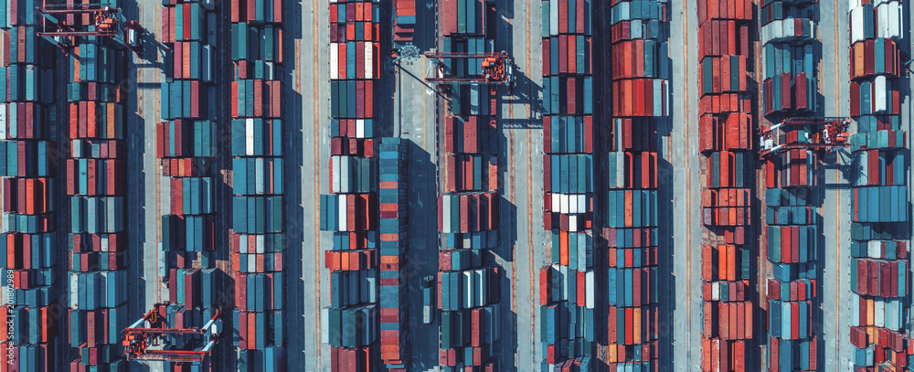 Fototapety, obrazy: Aerial view of containers at ship yard