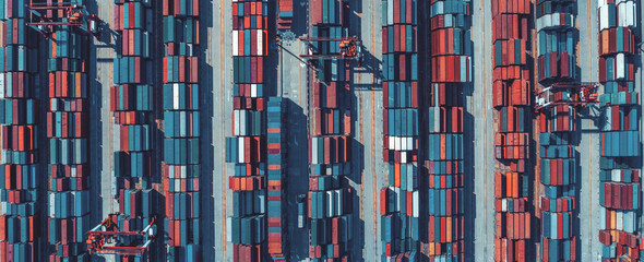 Aerial view of containers at ship yard