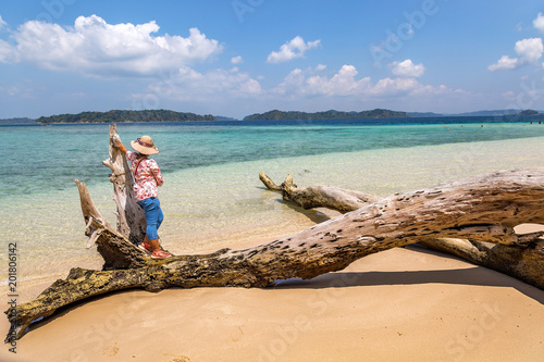 Canvas Prints Textures Young female tourist pose at the Jolly Buoy island beach at Andaman India.