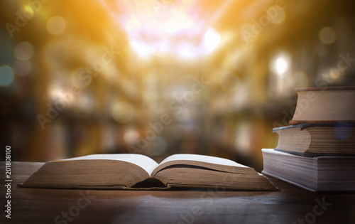 Fotografía  book the library room learning Book stack Education back to school concept