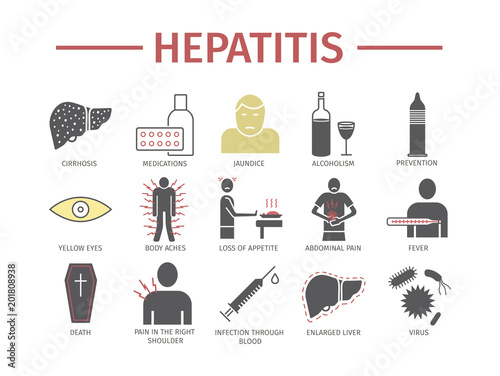 Hepatitis flat icon Infographics. Vector signs for web graphics.