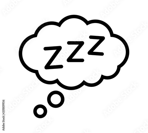 Fotografie, Obraz Sleeping, zzz or slumber in thought bubble vector icon for sleep apps and websit