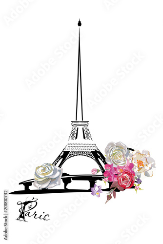 Design with the Eiffel tower and cafes, flowers Wallpaper Mural