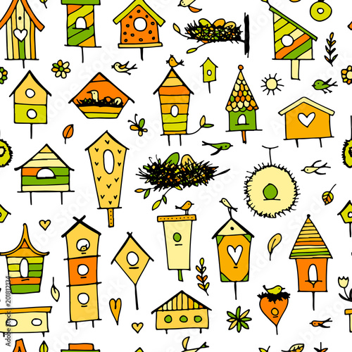 Birdhouses, seamless pattern for your design Canvas Print