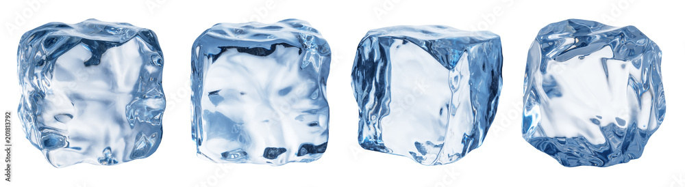 Fototapeta Set of four different ice cube faces. Clipping path.