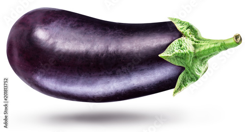 Aubergine or eggplant isolated on white background.
