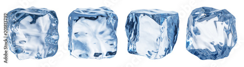 Fotografie, Obraz  Set of four different ice cube faces. Clipping path.