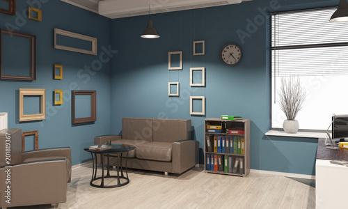 Deurstickers Retro Elegant office interior. Mixed media
