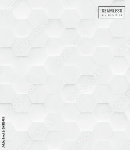 Recess Fitting Pattern 3d Hexagon polygonal seamless vector pattern, white geometric business background