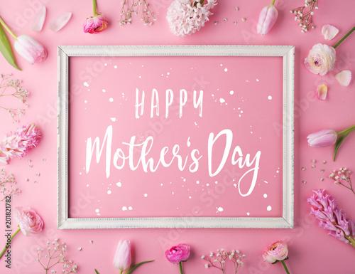 fototapeta na ścianę Mothers day composition.Text and flowers. Studio shot.