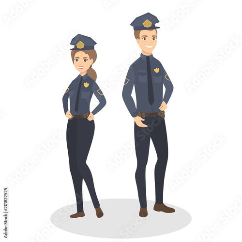 Cuadros en Lienzo Isolated police couple.