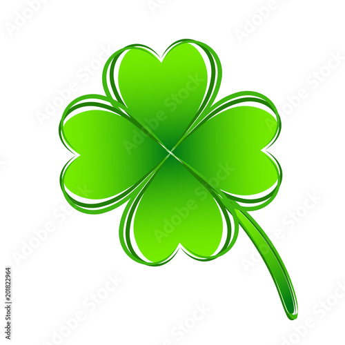 Four Leaf Green Clover Hand Draw Lucky Quatrefoil Good Luck Symbol