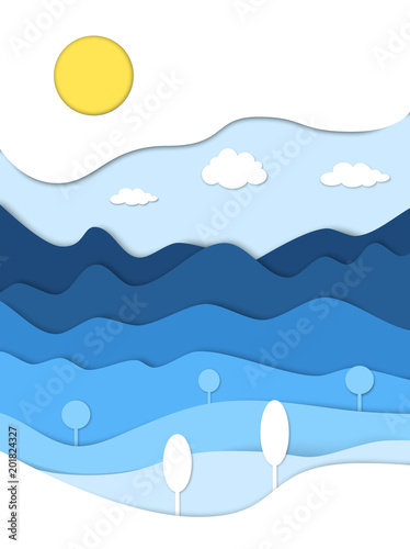 Foto-Schmutzfangmatte - Mountains landscape in paper cut style. Cartoon mountain ridges. Vector paper art illustration. Conceptual 3D background. (von tanyadzu)