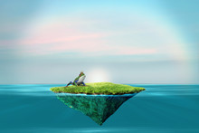 Prince Charming Background. Island Floating In The Ocean With A Frog Wearing A Crown. Fantasy Image.