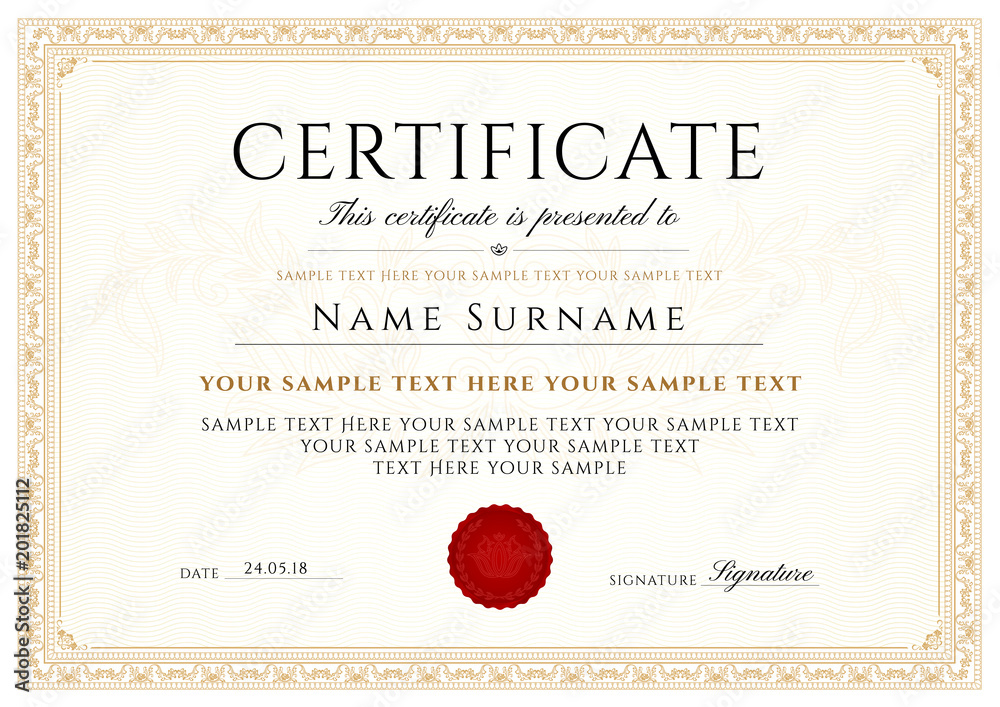 Fototapety, obrazy: Certificate, Diploma of completion (design template, white background) with Frame, Border, light Guilloche pattern (watermark)